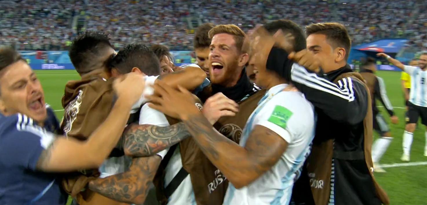 L'esultanza dell'Argentina alla fine della gara