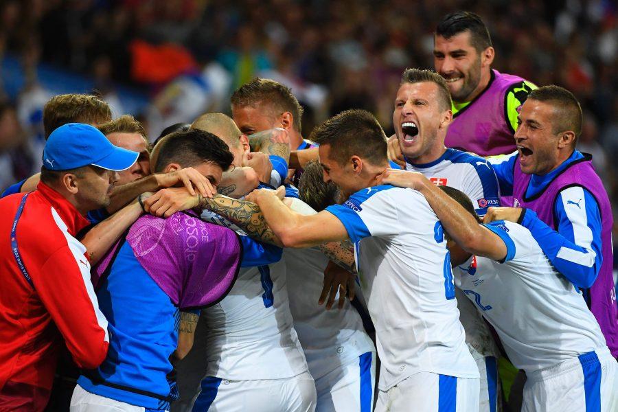 Nazionale della Slovacchia festeggia il passaggio del turno